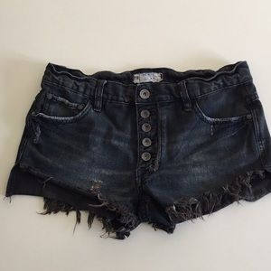 Free People Distressed Button Fly Cutoffs